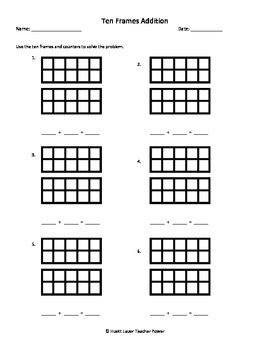 Ten Frames Addition Worksheet - Sums up to 20 by Huett Lauer ...