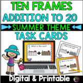 Ten Frames Addition to 20 Task Cards (Beach Theme)