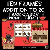 Ten Frames Addition to 20 Task Cards (Picnic Theme)