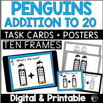 Ten Frames Addition to 20 Task Cards (Winter Theme)