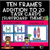 Ten Frames Addition to 20 Task Cards and Posters (Surfboard Theme)