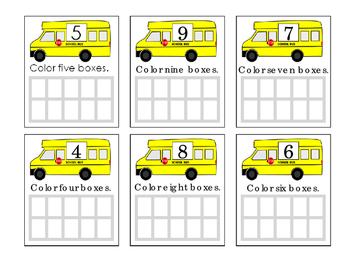 Ten Frames Bus Math Numbers 4 5 6 7 8 9 Fun Stuff Coloring Activity 1 Page