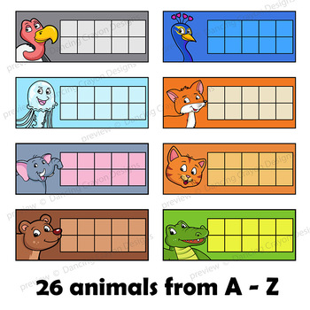 Ten Frames Clip Art | Animals from A to Z Counting Frames