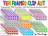 Ten Frames Clip Art in 8 Fun Colors (10 frames clipart)