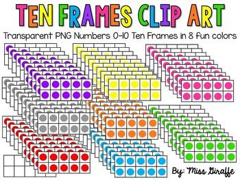 Ten Frames Clip Art in 8 Fun Colors (10 frames clipart)