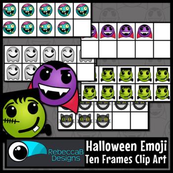 Ten Frames Clip Art Halloween Emoji Theme