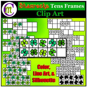 Ten Frames Clip Art Shamrocks