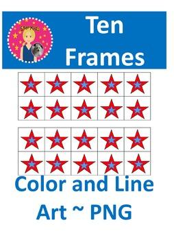 Ten Frames Clipart - Memorial/Veterans/Presidents Day  {COMMERCIAL USE OK}