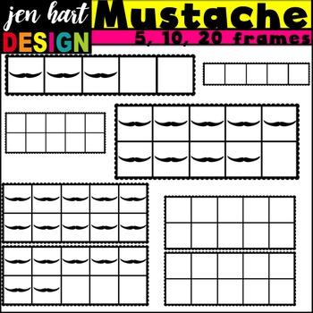 Ten Frames Clipart {Mustaches}