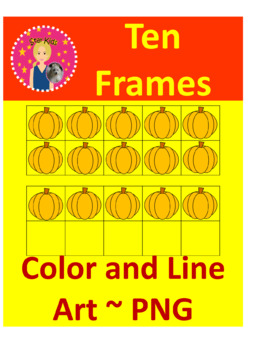 Ten Frames Clipart - Pumpkins  {COMMERCIAL USE OK}
