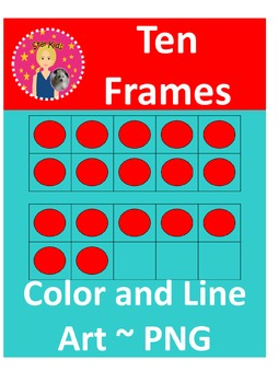 Ten Frames Clipart - Red and Blue Counters {COMMERCIAL USE OK}