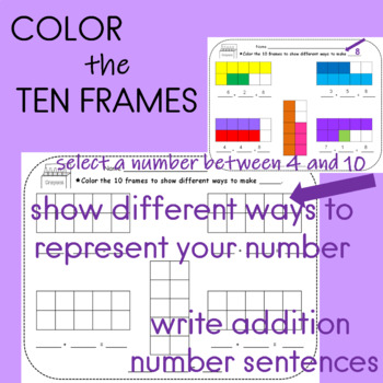 Ten Frames Coloring Activity for Math Stations