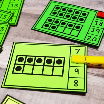 Ten Frames Counting Clip Cards 1-20 | Kindergarten Math | English & Spanish