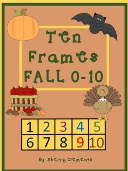 Fall Ten Frames - (apples, leaves, pumpkins, bats, and turkeys) (0-10)