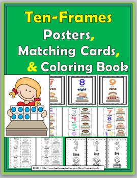 Numbers 1-10 Ten Frame Posters, Matching Activity & Coloring Book