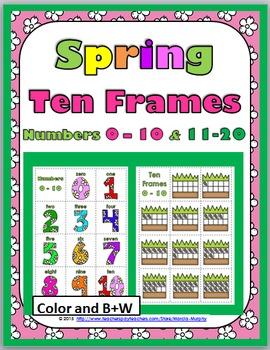Ten Frames Number Cards 0-20 Activity - Spring Math