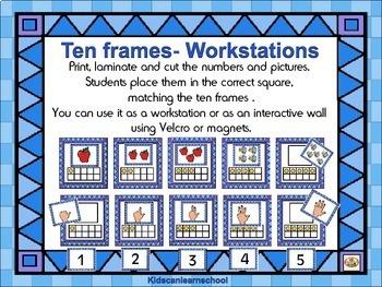 Ten Frames-Números 1 to 10 -Borde Azul