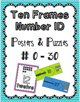 Ten Frames Number ID 0-30 Posters & Puzzles (Color & B&W)