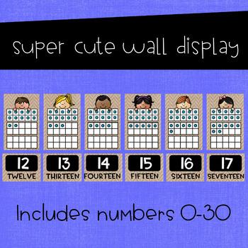 Ten Frames Number Posters 0-30 ~ Burlap