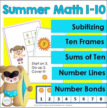 Summer Kindergarten Math Center Activities for 1-10
