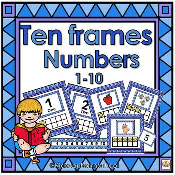 Ten Frames- Numbers 1-10- Blue