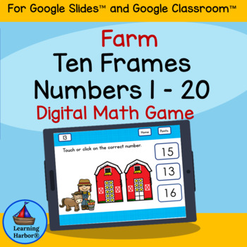 Ten Frames Numbers 1 - 20 Kindergarten Farm Theme for Google Drive™
