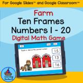 Ten Frames Numbers 1 - 20 Kindergarten Farm Theme for Goog