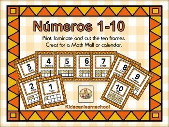 Ten Frames-Numeros 1 al 10 en Español