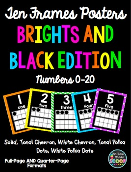 Ten Frames Posters 0-20 in Two Sizes (Black and Brights Edition)