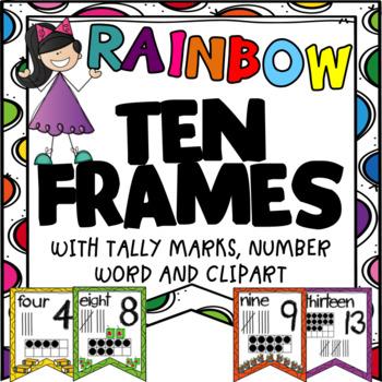 Ten Frames Posters~ Bright Colors 0~20