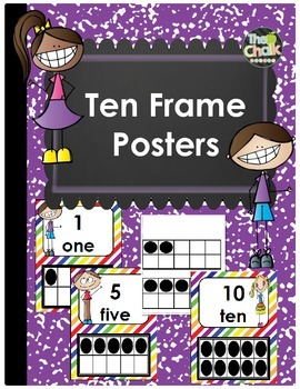 Ten Frame Posters - Rainbow Theme