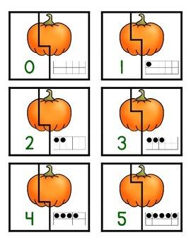 Pumpkin Ten Frame Matching Game