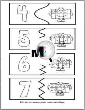 Ten Frames Self-Correcting Number Puzzles and Printables Numbers 1-10
