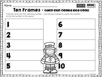 St. Patrick's Day Ten Frames - Write the Room