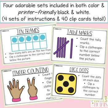 Ten Frames, Tally Marks, Dice, & More! Clip Cards - Identifying Numbers 1 - 10