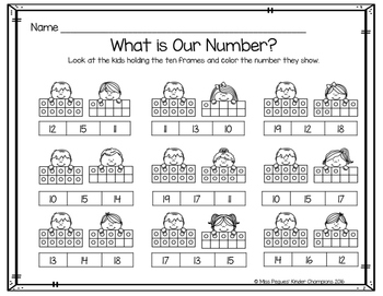 Ten Frames: Teen Numbers Mini Unit