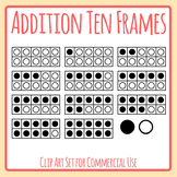 Ten Frames Templates for Addition and Color In Clip Art Set for Commercial Use