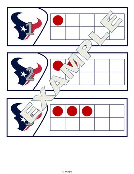 Ten Frames - Texans themed - number sense and recognition
