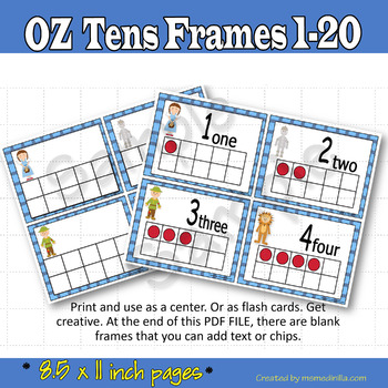 Ten Frames Wizard of Oz inspired Number Cards 1-20