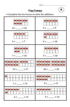 Ten Frames Worksheet