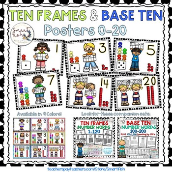 Ten Frames and Base Ten Posters 0-20 (Black Dots)