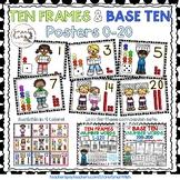 Ten Frames and Base Ten Posters 0-20 (Black Dots)