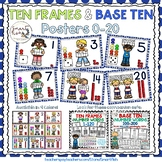Ten Frames and Base Ten Posters 0-20 (Blue Dots)