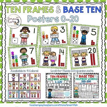 Ten Frames and Base Ten Posters 0-20 (Green Dots)