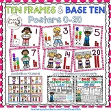 Ten Frames and Base Ten Posters 0-20 (Hot Pink Dots)