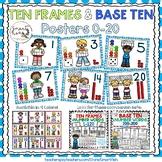 Ten Frames and Base Ten Posters 0-20 (Light Blue Dots)