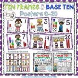 Ten Frames and Base Ten Posters 0-20 (Purple Dots)