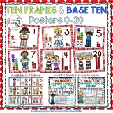 Ten Frames and Base Ten Posters 0-20 (Red Dots)