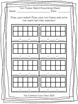 Ten Frames and Math Facts Match Up Center Game