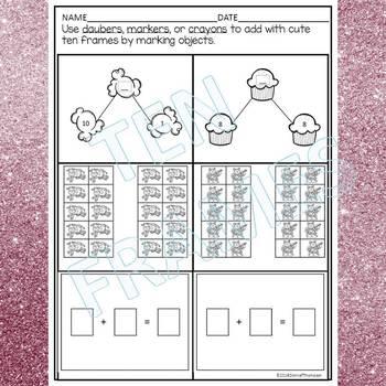 Ten Frames: Number Bonds Within Twenty (Dab or Color Worksheets)